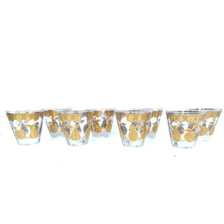 Culver Gold Fruit Lowball Glasses - Set of 8