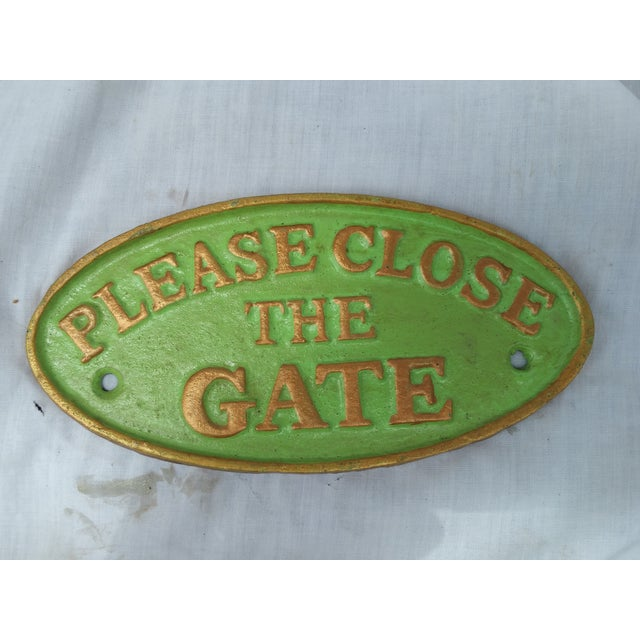"""Image of Cast Iron """"Please Close the Gate"""" Sign"""