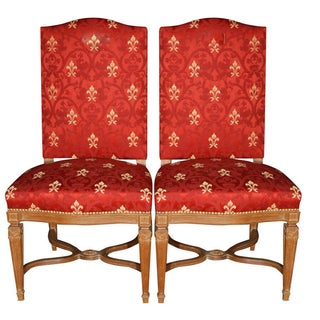 Red Fleur de Lys Print Chairs by Jansen - A Pair