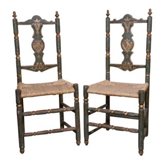 Set of Six Early 19th Century Painted Italian Chairs