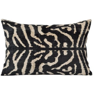 Zebra Silk Velvet Accent Pillow