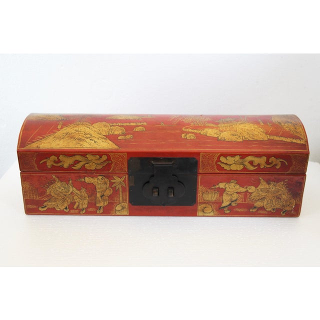 Chinese Orange Leather Tabletop Trunk - Image 2 of 8