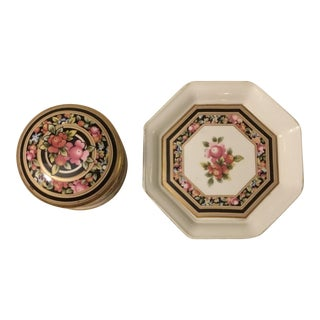 Wedgwood Trinket Box and Tray Clio Pattern Tray - 2 Pc.