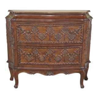 Italian Curved Sides 2 Door Carved Walnut Commode