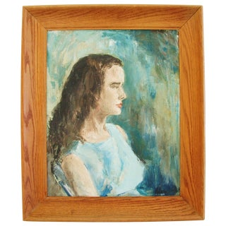 Mid-Century Lady in Blue Oil on Canvas Portrait