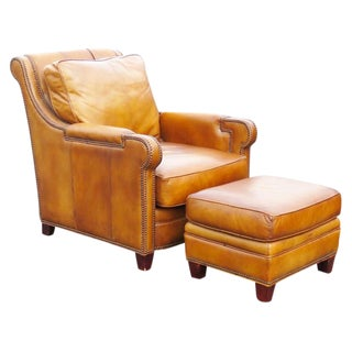 Distressed Brown Leather Lounge Chair & Ottoman