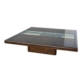 Floating Laquered Burlwood & Glass Coffee Table