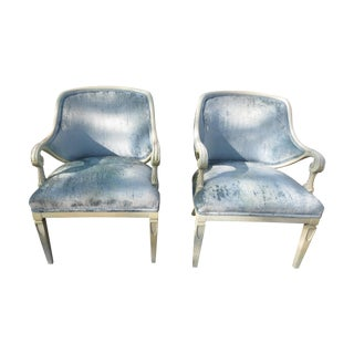 Vintage 1950s Blue Velvet French Chairs - A Pair