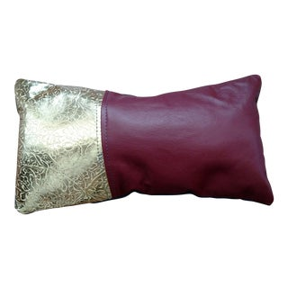 Gold & Red Leather Accent Pillow