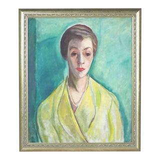 1930s Oil Portrait Painting of Woman