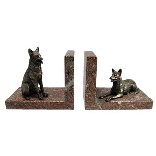 Bronze & Marble German Shepherd Bookends - A Pair