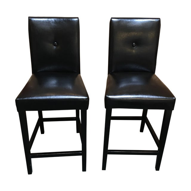 Black Button Back Barstools - a Pair - Image 1 of 9