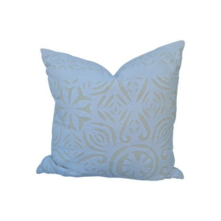Cream on White Cotton Appliqued Pillow