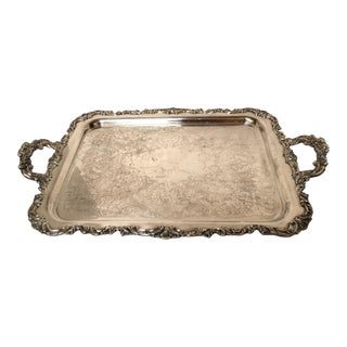Vintage Silver Ornate Footed Butler's Tray