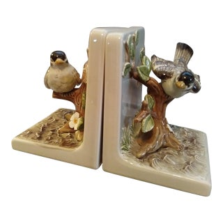 Vintage Ceramic Bird Bookends - A Pair