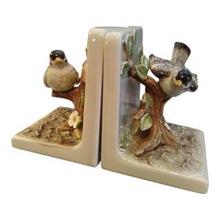 Vintage Ceramic Bird Bookends - A Pair