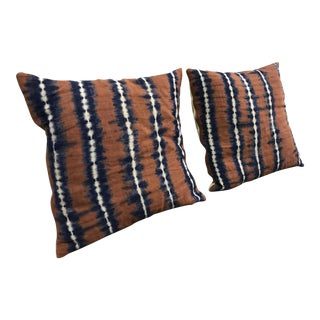 Shibori Linen Rust/Indigo Pillows - A Pair
