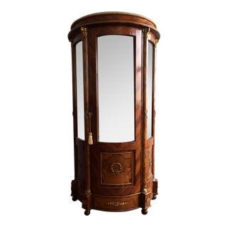Burlwood Mirrored Curio Cabinet