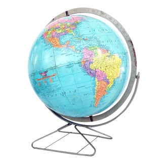 Mid-Century Replogle Globe on Brass Stand