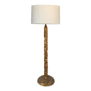 Gilt Mandarin Floor Lamp with Linen Drum Shade in the manner of James Mont