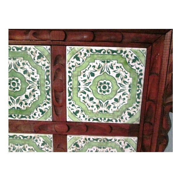 Mexican Carved Wood Green Tile Tray - Image 4 of 5
