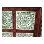 Image of Mexican Carved Wood Green Tile Tray