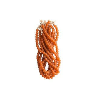 Burnt Orange Recycled Glass Bead Strands - Set of Six