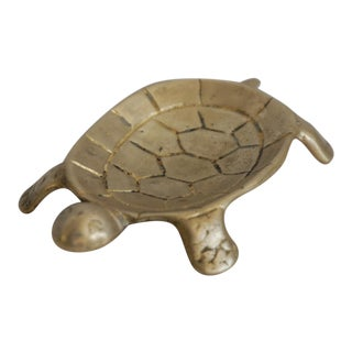 Vintage Brass Turtle Coin Dish