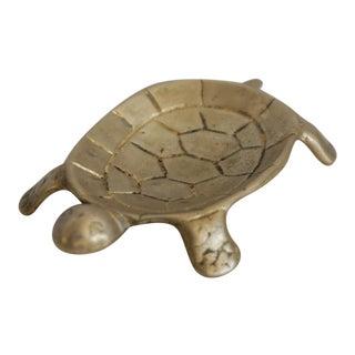 Vintage Brass Turtle Coin Dish