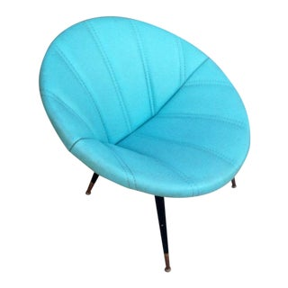 Mid-Century Modern Turquoise Clam Saucer Chair