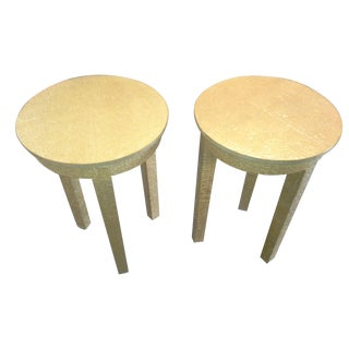 Gold Accent Tables with Etching - A Pair