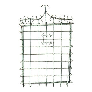 Antique Wrought Iron Wall Mounted Wine Rack