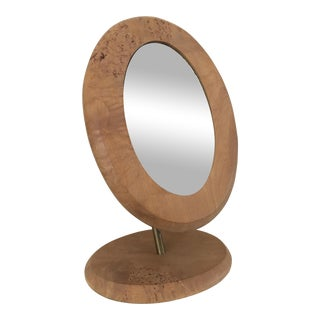Vintage Burlwood & Brass Tilt Make-Up Mirror