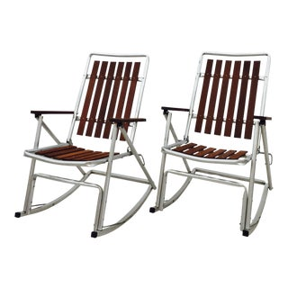 Mid-Century Folding Rocking Chairs - A Pair