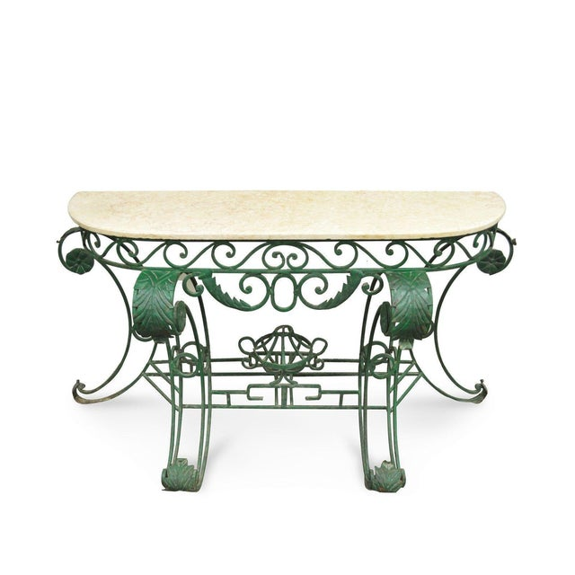 Italian Regency Style Green Wrought Iron Marble Top Console Table - Image 11 of 11