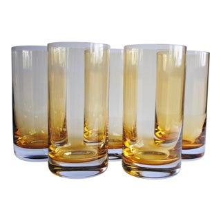 Vintage Yellow Highball Glasses - Set of 5