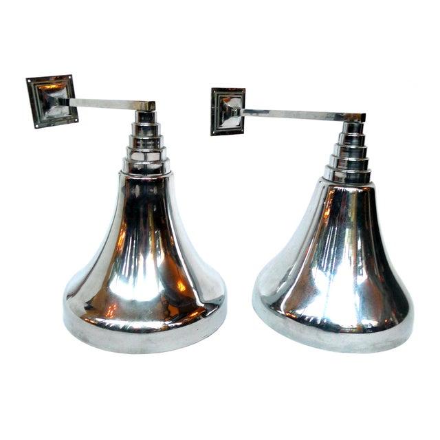 Image of Art Deco Style Chrome Sconces - A Pair