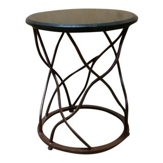 Steel & Black Granite End Table