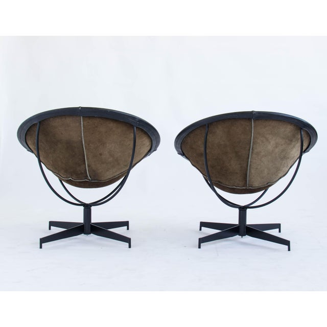 Leather Bucket Chairs by William Katavolos - Pair - Image 4 of 9