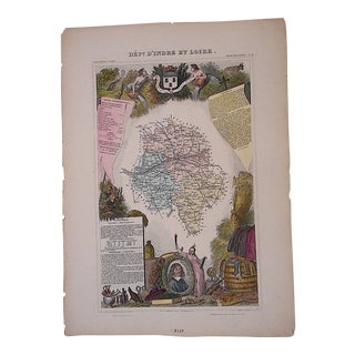 Antique Map, Provinces of France Engraving, D'Indre Et Loire