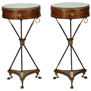 French Neoclassical Mirrored Arrow Based Round Side Tables- A Pair