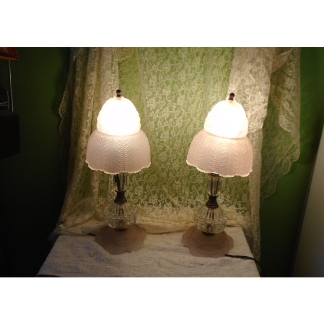 Art Deco Glass Table Lamps - Pair - Image 2 of 9