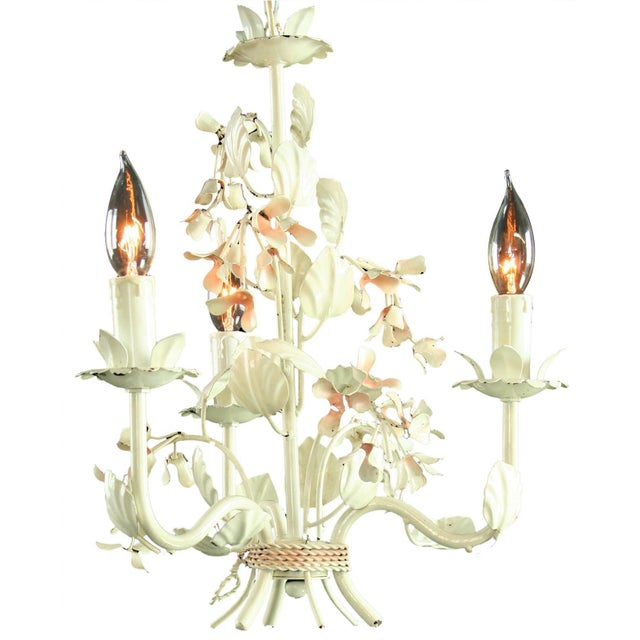 Vintage French 3-Arm Metal Floral Chandelier - Image 1 of 3