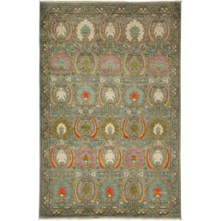 """New Hand-Knotted Suzani Green Rug - 6'1"""" X 9'1"""""""