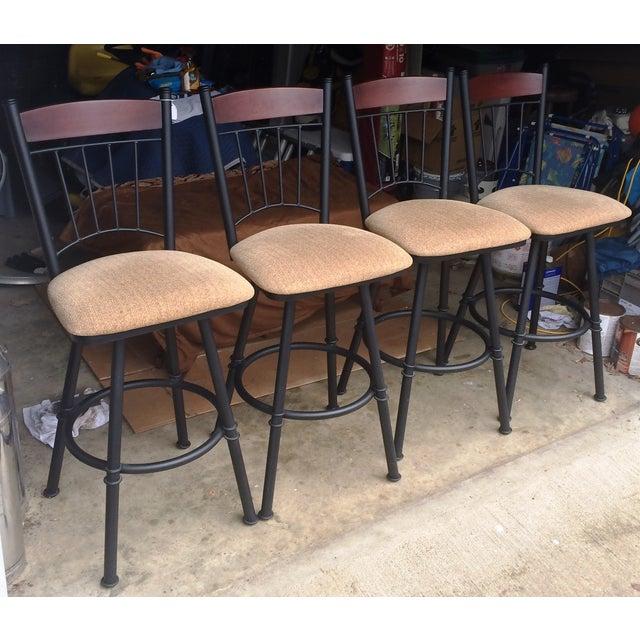 Swivel Metal Bar Stools With Cushion - Set of 4 - Image 4 of 7