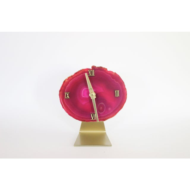 Image of Handmade Modern Pink SoLo Agate Clock on Acrylic