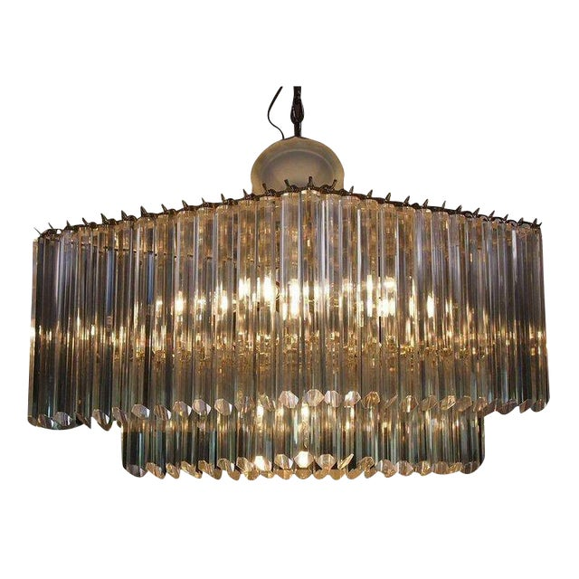 Diamond Shaped Lucite & Brass Chandelier - Image 1 of 2