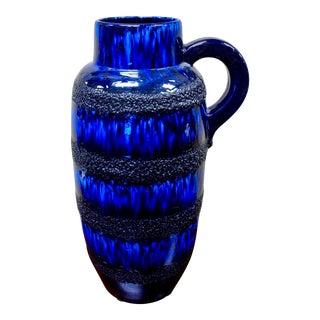 Scheurich Keramik Mid Century Blue Fat Lava Floor Handled Vase