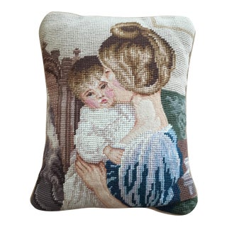 Vintage Needlepoint Mother & Child Throw Pillow