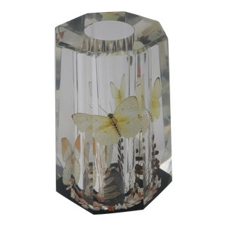 Lucite Butterfly Vase